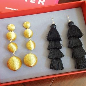 Baublebar gold and black tassel earrings gift set